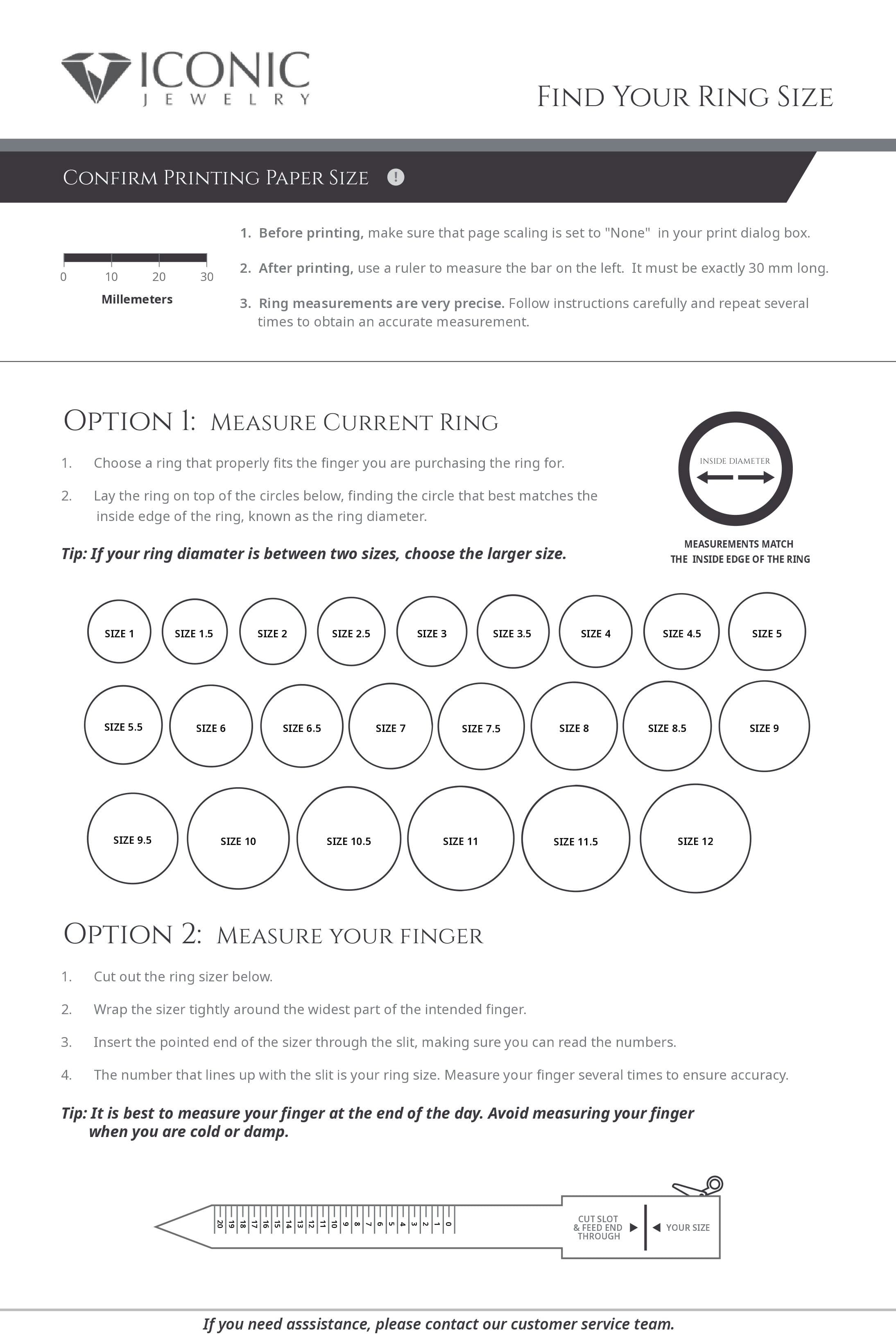 Printable Ring Sizer