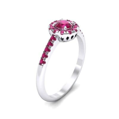 Round Halo Pave Ruby Engagement Ring (0.79 Carat)