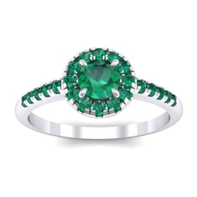 Round Halo Pave Emerald Engagement Ring (0.79 Carat)