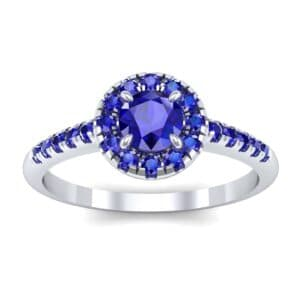 Round Halo Pave Blue Sapphire Engagement Ring (0.79 Carat)