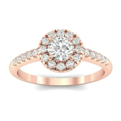 Round Halo Pave Diamond Engagement Ring (0.56 Carat)