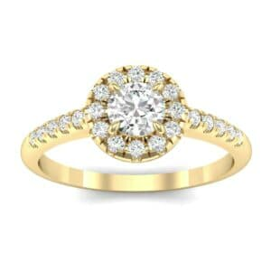 Round Halo Pave Diamond Engagement Ring (0.56 Carat)