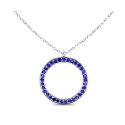 Thin Flat Side Blue Sapphire Pendant (1.05 CTW) Top Dynamic View