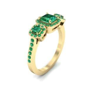 Three-Stone Halo Emerald Engagement Ring (0.78 Carat)