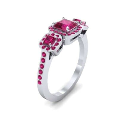 Three-Stone Halo Ruby Engagement Ring (0.78 Carat)