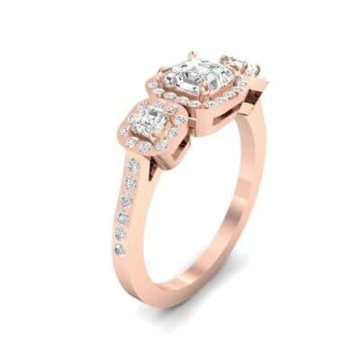 Three-Stone Halo Diamond Engagement Ring (0.78 Carat)