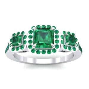 Three-Stone Halo Emerald Engagement Ring (0.78 Carat)