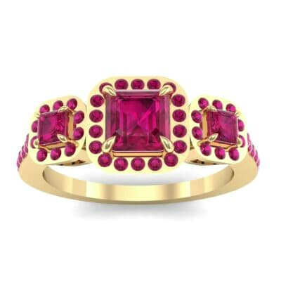 Three-Stone Halo Ruby Engagement Ring (0.78 Carat)