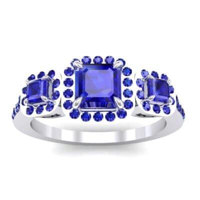 Three-Stone Halo Blue Sapphire Engagement Ring (0.78 Carat)