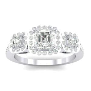 Three-Stone Halo Diamond Engagement Ring (0.78 Carat)