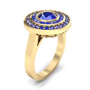 Petal Double Halo Blue Sapphire Engagement Ring (1.43 Carat)