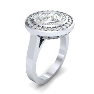 Petal Double Halo Diamond Engagement Ring (0.82 Carat)