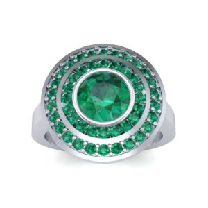 Petal Double Halo Emerald Engagement Ring (1.43 Carat)