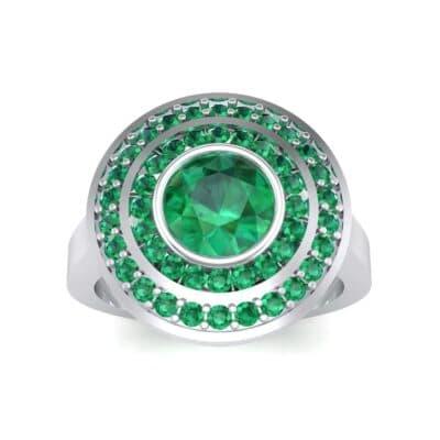 Petal Double Halo Emerald Engagement Ring (1.43 Carat)