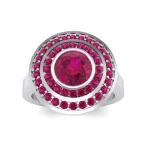Petal Double Halo Ruby Engagement Ring (1.43 Carat)
