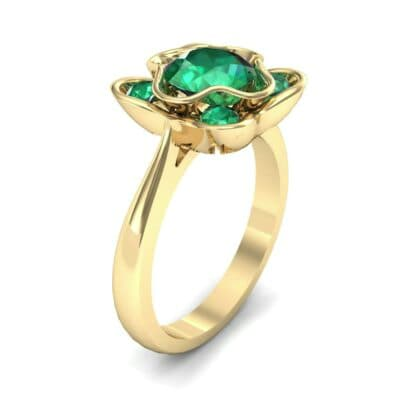 Flower Cup Emerald Engagement Ring (0.66 Carat)