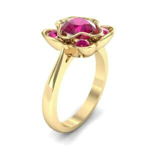 Flower Cup Ruby Engagement Ring (0.66 Carat)