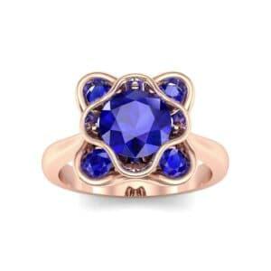 Flower Cup Blue Sapphire Engagement Ring (0.66 Carat)