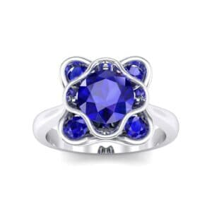 Flower Cup Blue Sapphire Engagement Ring (0.66 Carat)