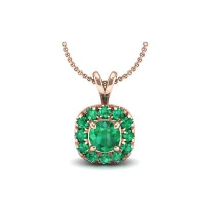 Gardenia Cushion Halo Emerald Pendant (0.6 Carat)