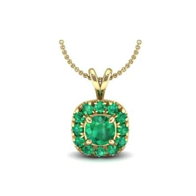Gardenia Cushion Halo Emerald Pendant (0.6 Carat)