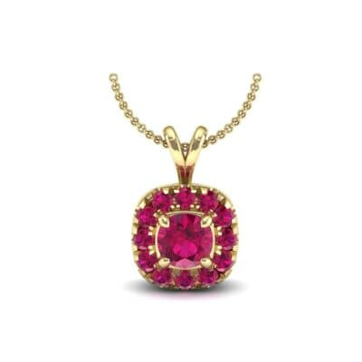Gardenia Cushion Halo Ruby Pendant (0.6 Carat)