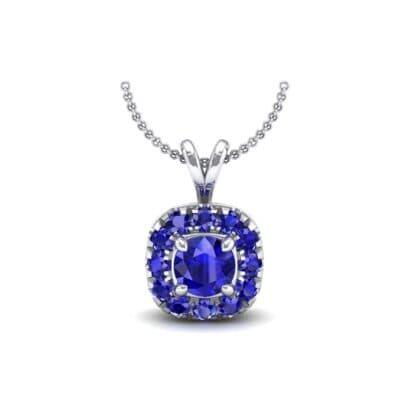 Gardenia Cushion Halo Blue Sapphire Pendant (0.6 Carat)