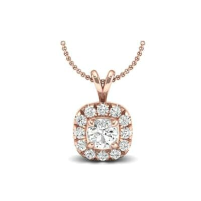 Gardenia Cushion Halo Diamond Pendant (0.6 Carat)