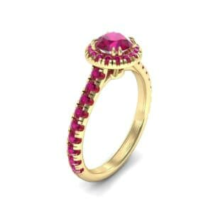 Thin Double Claw Prong Halo Ruby Engagement Ring (0.85 Carat)