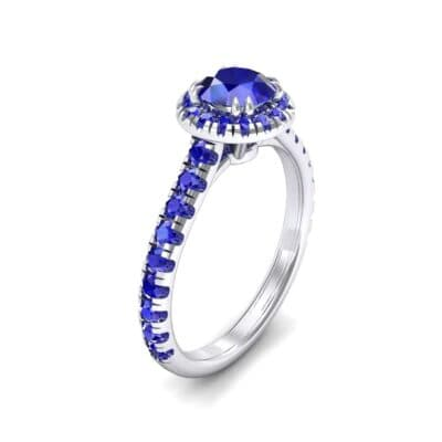 Thin Double Claw Prong Halo Blue Sapphire Engagement Ring (0.85 Carat)