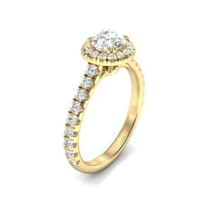 Thin Double Claw Prong Halo Diamond Engagement Ring (0.85 Carat)