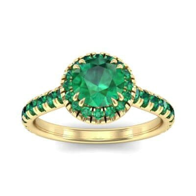 Thin Double Claw Prong Halo Emerald Engagement Ring (0.85 Carat)