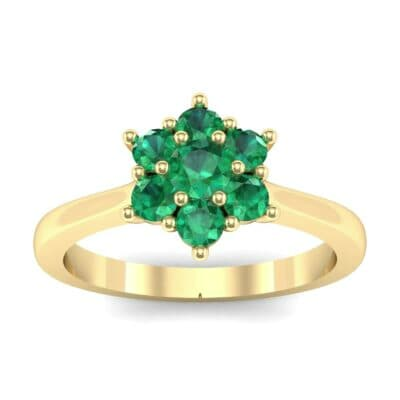 Floral Emerald Cluster Engagement Ring (0.44 Carat)