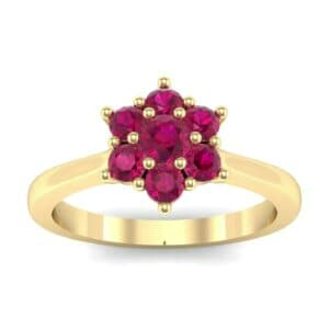 Floral Ruby Cluster Engagement Ring (0.44 Carat)