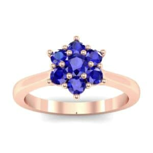 Floral Blue Sapphire Cluster Engagement Ring (0.44 Carat)