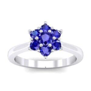 Floral Blue Sapphire Cluster Engagement Ring (0.44 Carat)