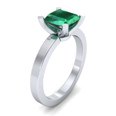 Classic Radiant-Cut Solitaire Emerald Engagement Ring (0.9 CTW) Perspective View