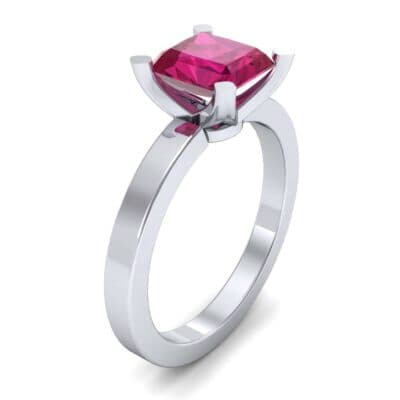 Classic Radiant-Cut Solitaire Ruby Engagement Ring (0.9 CTW) Perspective View