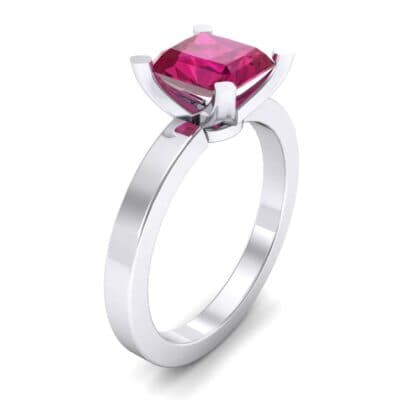Classic Radiant-Cut Solitaire Ruby Engagement Ring (0.9 Carat)