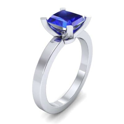 Classic Radiant-Cut Solitaire Blue Sapphire Engagement Ring (0.9 CTW) Perspective View