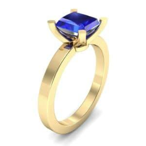 Classic Radiant-Cut Solitaire Blue Sapphire Engagement Ring (0.9 Carat)