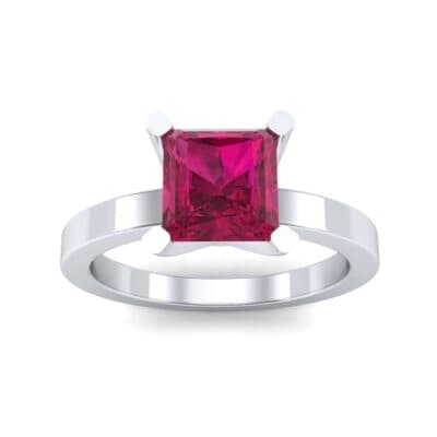 Classic Radiant-Cut Solitaire Ruby Engagement Ring (0.9 CTW) Top Dynamic View