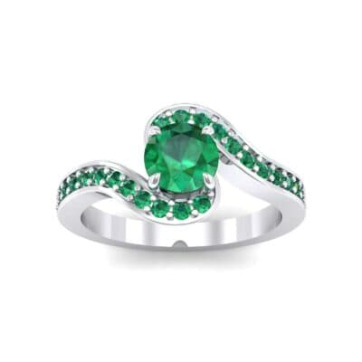 Swirl Pave Emerald Bypass Engagement Ring (0.72 Carat)