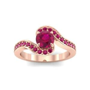Swirl Pave Ruby Bypass Engagement Ring (0.72 Carat)