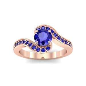 Swirl Pave Blue Sapphire Bypass Engagement Ring (0.72 Carat)