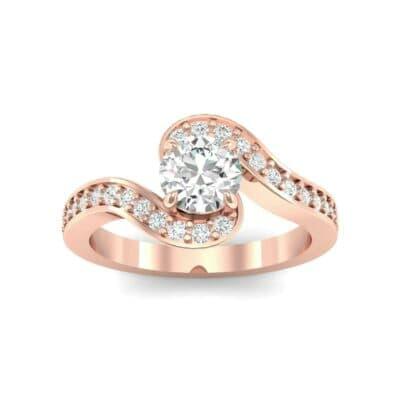 Swirl Pave Diamond Bypass Engagement Ring (0.72 Carat)