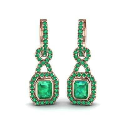 Twist Emerald-Cut Halo Emerald Drop Earrings (0.95 Carat)