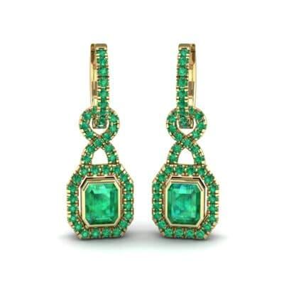 Twist Emerald-Cut Halo Emerald Drop Earrings (0.95 Carat)