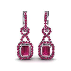 Twist Emerald-Cut Halo Ruby Drop Earrings (0.95 Carat)