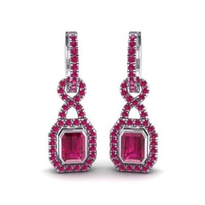 Twist Emerald-Cut Halo Ruby Drop Earrings (0.95 Carat)